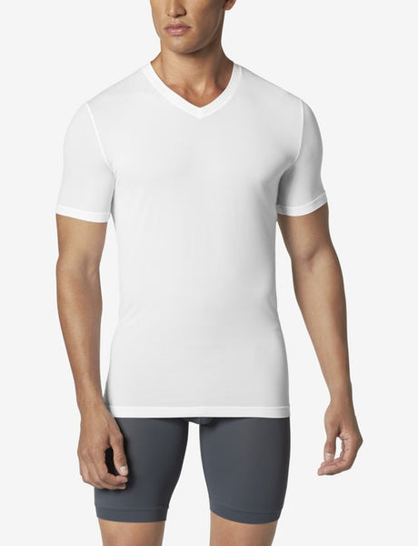 High V Neck White