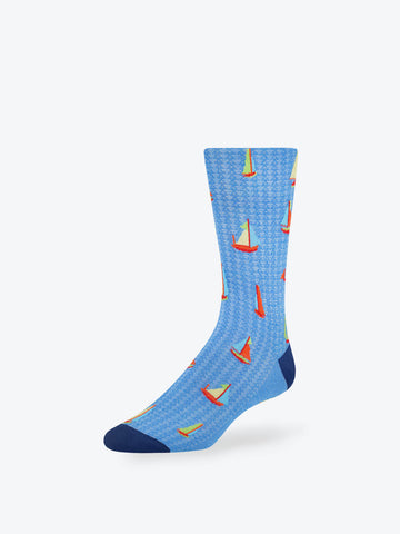 Sailboats Mid-Calf Socks Aqua