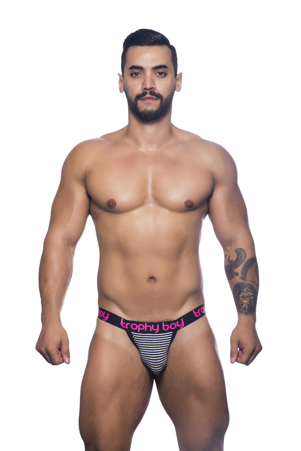 Trophy Boy Jock Black and White Stripe