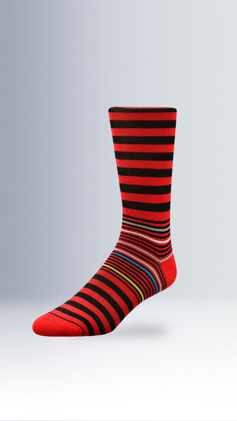 Awning Stripes Dress Socks Ruby Red