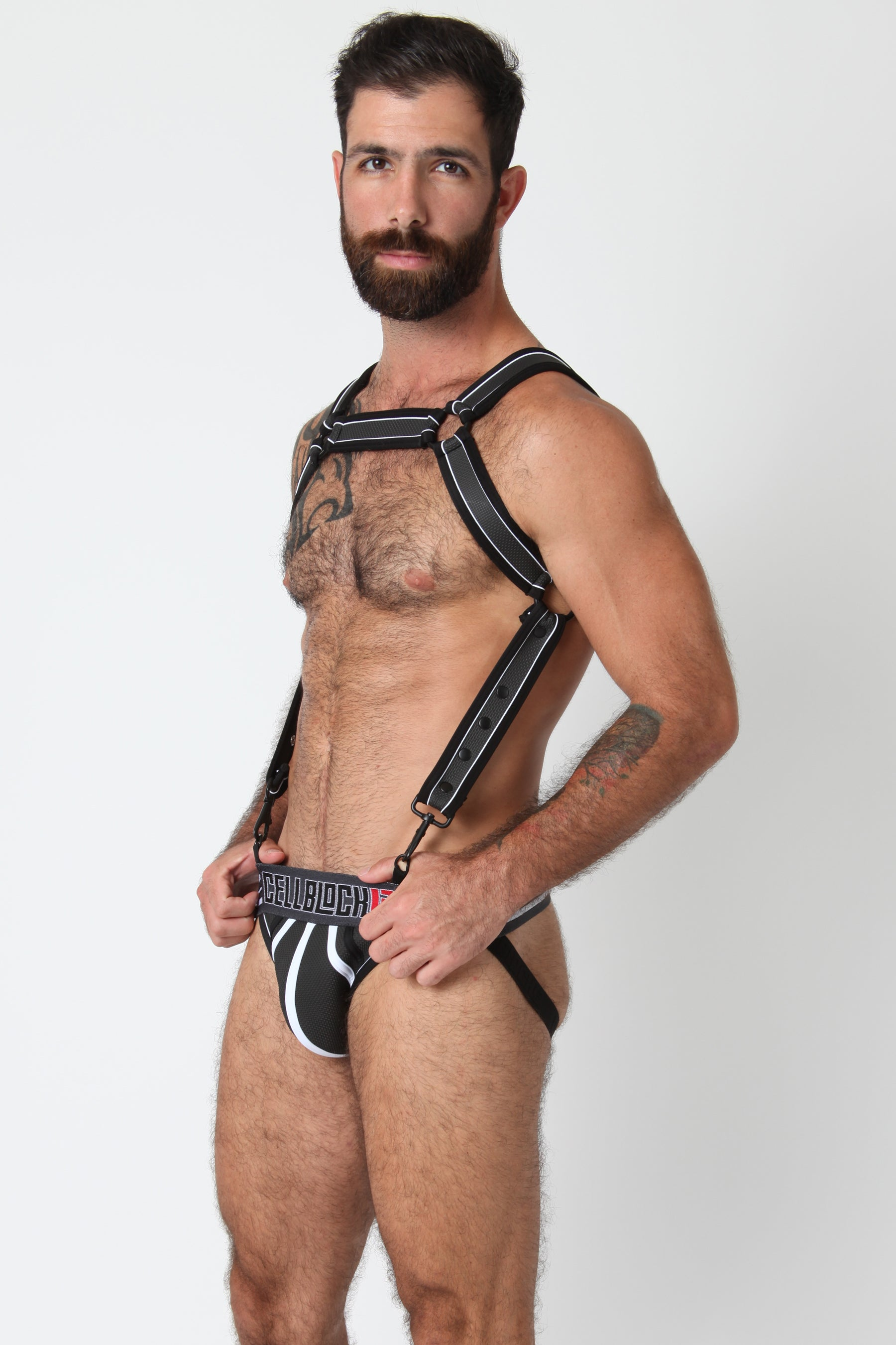 Rogue Neoprene Harness and Jock Set - Grey Black