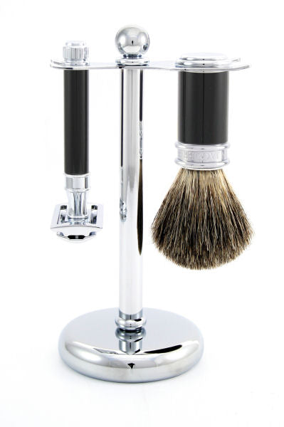 Edwin Jagger 3pc Black & Chrome Set (DE)