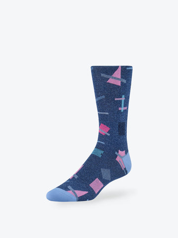 Abstract Mid-Calf Socks Denim