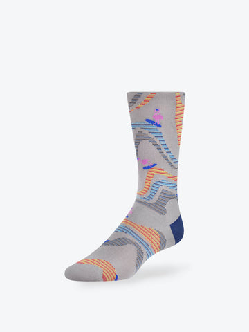 Surfing Flamingos Mid-Calf Socks Platinum