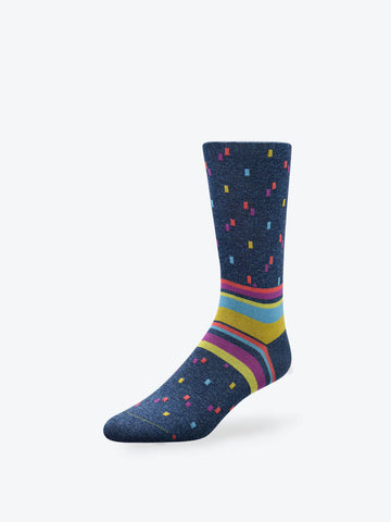Specks and Stripes Mid-Calf Socks Midnight