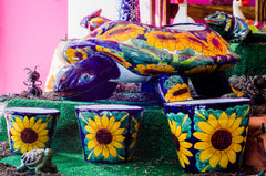Sunflower turtle planter and pots for flowers