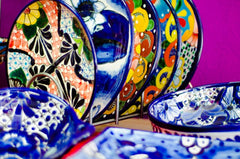 Hand painted plates of talavera