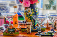 Margarita glasses and mexican style table settings