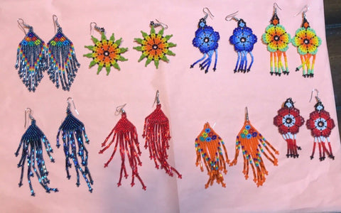 Hand made Huichol beaded earrings.
