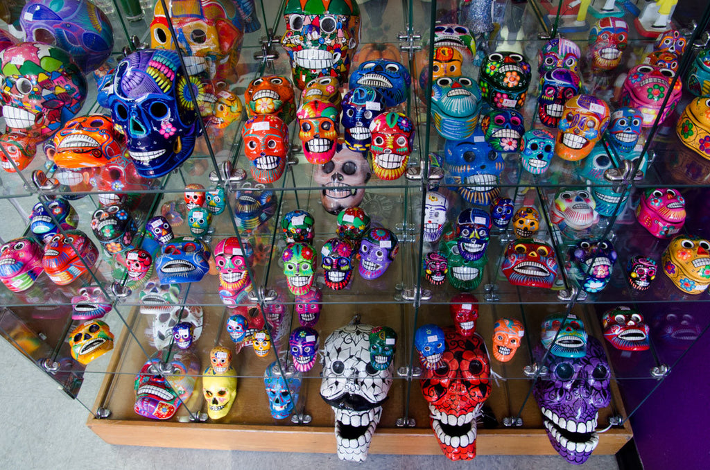 day of the dead handpainted ceramic mexican folk art