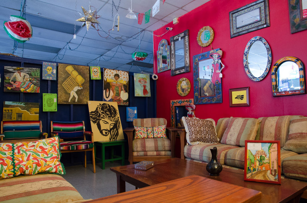 art gallery with mexican folk art