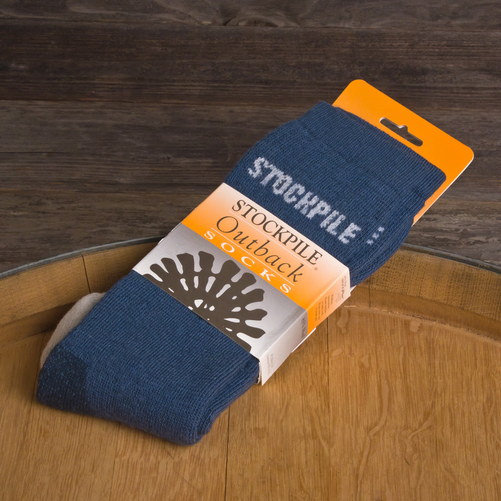 STOCKPILE Outback Boot Socks, Denim Blue