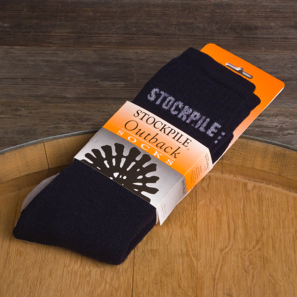 STOCKPILE Outback Boot Socks, Navy Blue