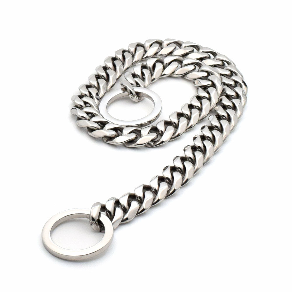 SILVER CUBAN LINK LUXURY DOG CHOKE CHAIN COLLAR