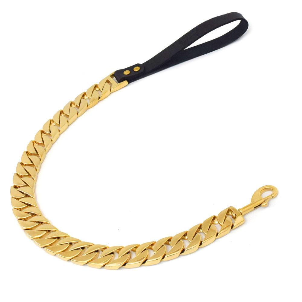 24 MM BIG BOY ROLLS ROYCE GOLD DOG LEASH!!! NEW!!!