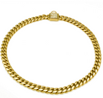 DIAMOND COVERED CLASP LOCK GOLD CUBAN LINK