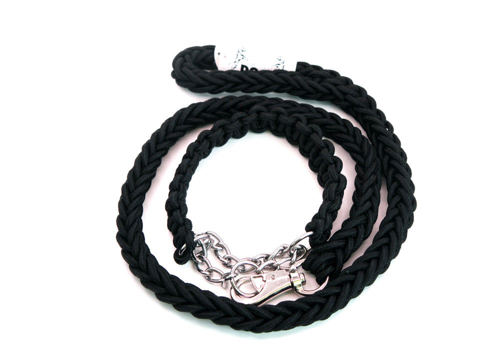 BLACK SHOWTIME COLLAR AND LEASH SET