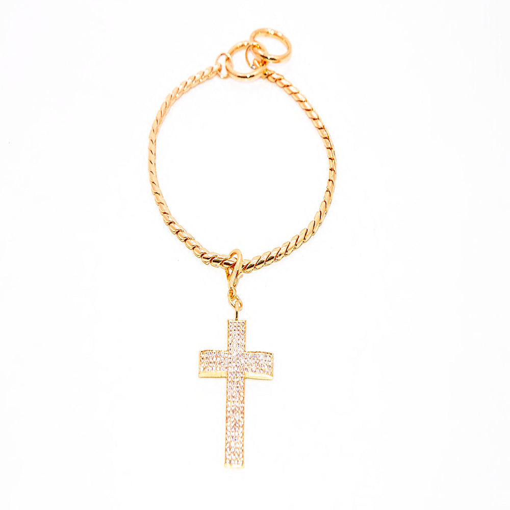 BEAUTIFUL GOLD SNAKE CHAIN COLLAR W/ CROSS PENDENT