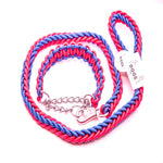 BLUE & PINK SHOWTIME COLLAR AND LEASH SET