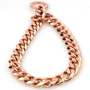 ROSE GOLD CUBAN LINK LUXURY DOG CHOKE CHAIN COLLAR