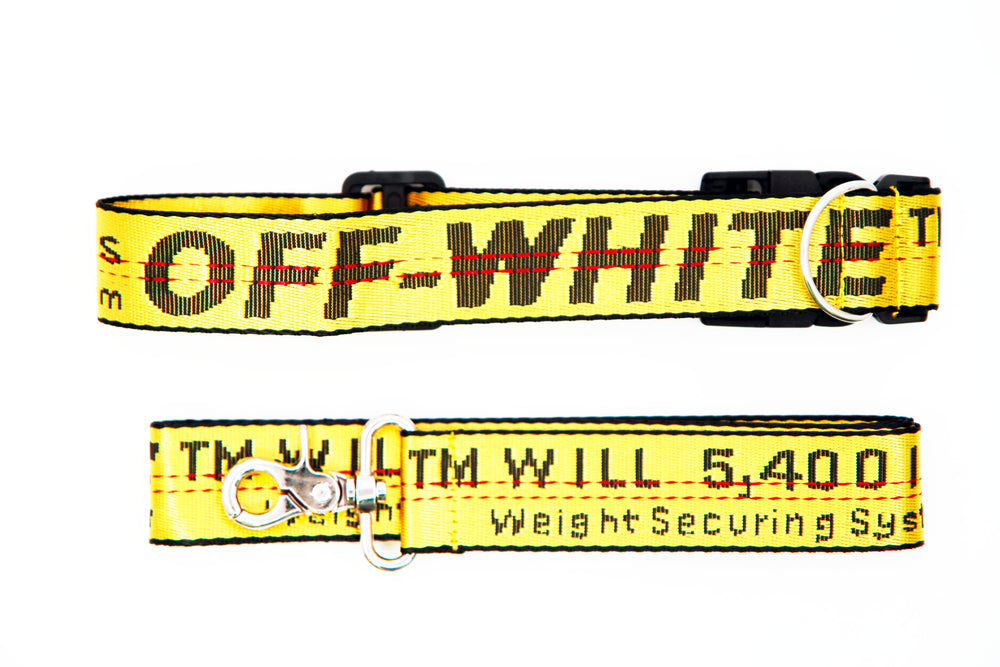 Yellow OFF- White Leash and Collar Set