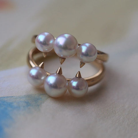 Sterling silver real Big Seiko counters, with, Japan Akoya, natural seawater pearl ring