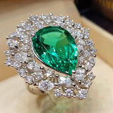 Large Water Drop Green Zircon Stone Ring
