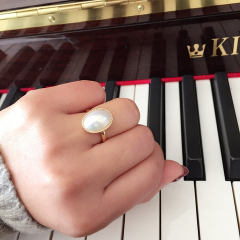 Sterling silver real Long lasting Japanese pearl ring