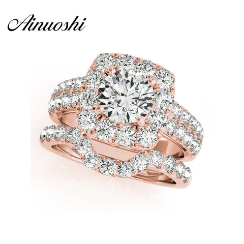 Sterling Silver Rose Gold Color Women Ring Set