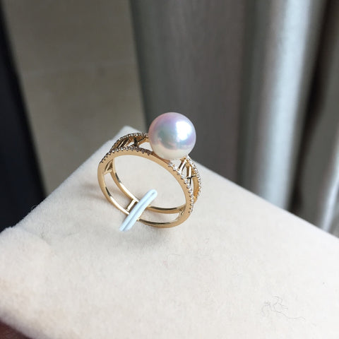 Sterling silver real Long-lasting natural Japanese Akoya sea water pearl ring