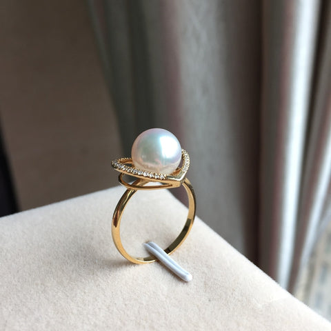 Sterling silver real Permanent natural Japanese Akoya seawater pearl ring heart-shaped
