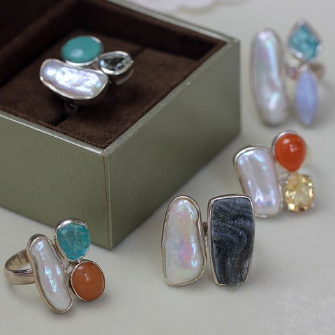 Sterling silver real Handmade 925 silver edging rings, natural color treasure, raw ore, special-shaped pearl