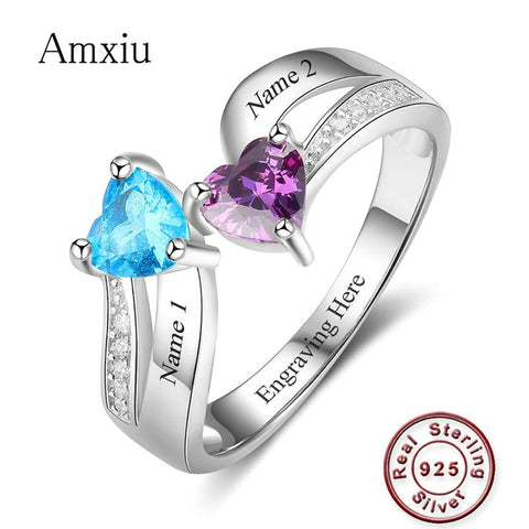 Silver Wedding Rings Engrave Two Names with Heart Birthstones Ring