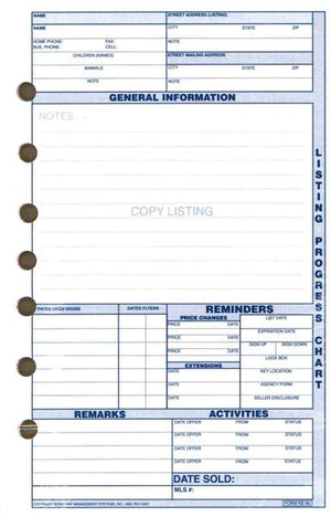 "Agenda Pros/BOSS, Listing Progress Chart (RE-9), 8""x11"", Refill"