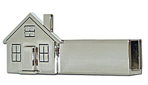 Business Card Holder, Silver, House Shaped