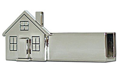 Business Card Holder Silver House Shaped