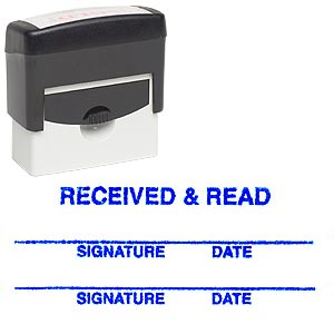 Stamp, RECEIVED & READ, Blue, Large
