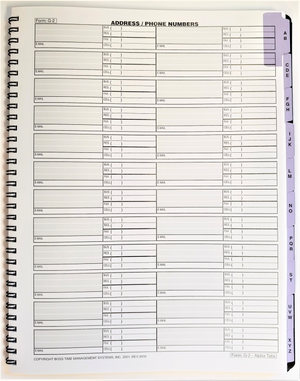 "Agenda Pros/BOSS, Address/Phone Numbers (G-2015), 8.5""x11"", Wirebound"