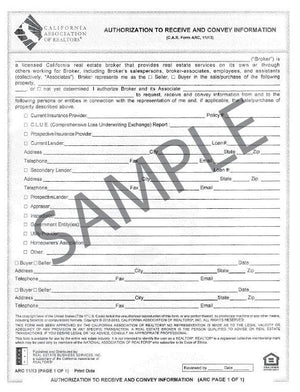 Form ARC, Authorized to Receive & Convey Information, Single
