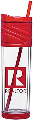 Double Wall Acrylic Tumbler with Straw, 16 ounces