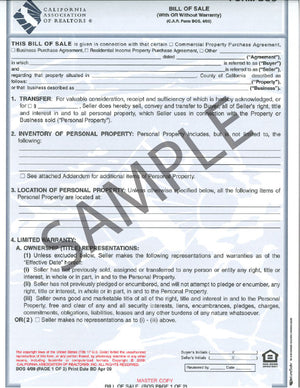 Form BOS/NA, Bill of Sale with Notary Acknowledgement, Single