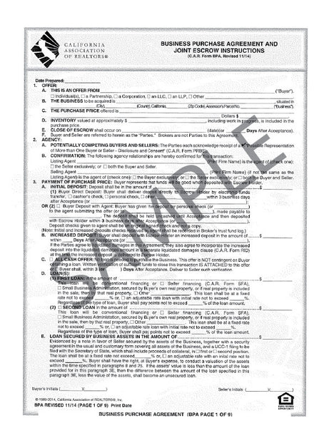 Form BPA, Business Purchase Agreement, Single