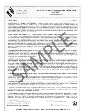 Form BVLIA, Buyer's Vacant Land Additional Inspection Advisory, Single