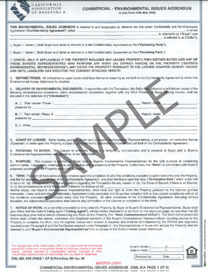 Form CML-EIA/LEC, Environmental Issues Addendum/Landlord's Environmental Consent