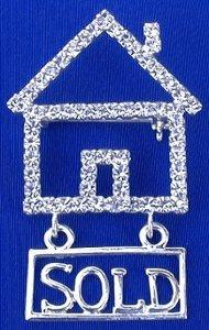 Crystal House Pin With Hanging Sold Sign