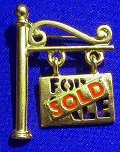 Hanging For Sale/Sold Sign Pin, Brass