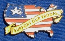 "USA Shaped Flag ""Support Our Troops"""