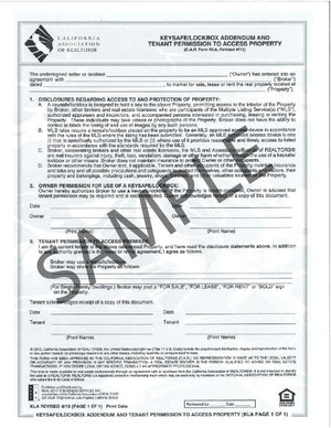 Form KLA, Key Safe/ Lock Box Addendum and Tenant Permission to Access Property, Single