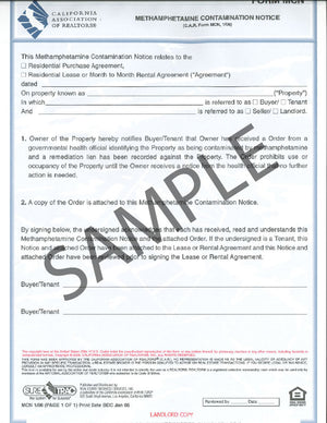 Form MCN, Methamphetamine Contamination Notice