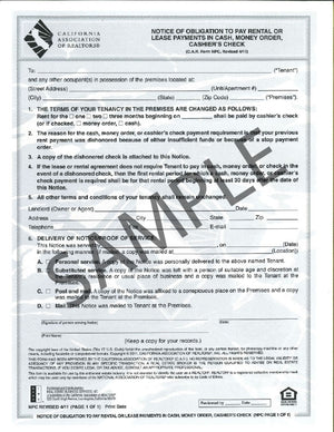 Form NPC, Notice of Obligation to Pay Rental or Lease Payments in Cash, Single